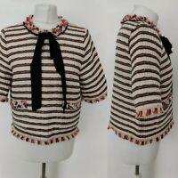 Zara Women's Top Blouse White Striped Pussybow Frill Hem Formal Office Work L 14