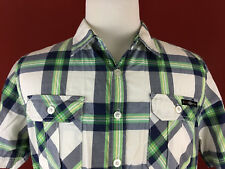 Enyce Mens Large Blue Green Plaid Button Front Short Sleeve Shirt Sean Combs