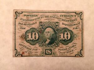 ~FR 1242  US FRACTIONAL POSTAL CURRENCY 10 CENTS FIRST ISSUE
