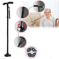 CE Magic Cane Folding LED Safety Walking Stick 4Head Pivoting Trusty Base Black