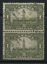 Canada 1929 $1 Parliament used vertical pair