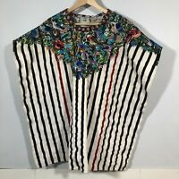 Vintage Tunic Poncho Embroidered Birds Floral Unisex Large