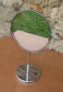Miroir rond à poser sur pied de maquillage double deux 2 faces ancien vintage