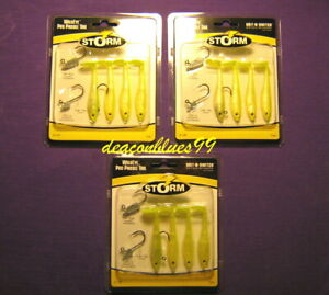 """LOT OF 3 Storm Wildeye Pro Paddle Tail 2.5"""" lures, Swimbaits - Chartreuse/Pearl"""