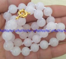 charming 10mm Real Natural White Jade Round Beads Necklace 22 ''AAA