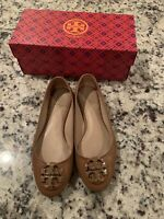 Tory Burch Royal Tan Tumbled Leather Claire Ballet Flats Shoes 6 43394 Gold Logo