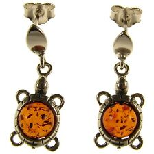BALTIC AMBER STERLING SILVER 925 STUD DROP DANGLING TORTOISE EARRINGS JEWELLERY