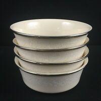 Set of 4 VTG Fruit Dessert Bowls Lenox Moonspun White Floral Platinum USA