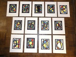 Vintage Mid Century Abstract Lithographs-Ltd. Ed.-Listed Fr. Artist-Set of 13