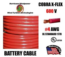 #4 Awg Cobra X-Flex Battery Cable Ul Listed Red 600V Sold Per Foot
