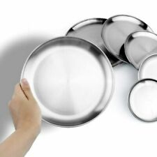 Stainless Steel Round Plates Dishes Dinner Plate Camping Metal Plates Tableware