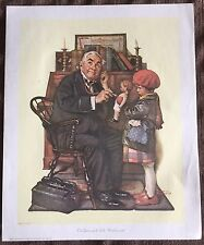 "Norman Rockwell 1972 Vtg Lithograph Doctor & Doll 13""X16"" Poster Art Print Litho"