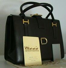 👜 spacieux sac DELVAUX années 50's, en cuir marron. vintage, TBE