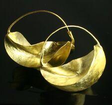 "LARGE  Fulani brass hoop earrings ""kwotene kange"" Peul. African (1 3/4"" wide)"