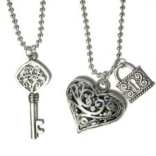 "Lovers Charm Couples Necklace Set Heart Key + Pad Lock 24"" STAINLESS STEEL"