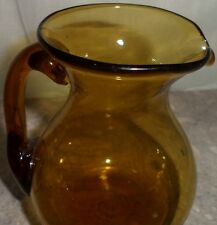 Vintage Amber Hand Blown Glass Pitcher Applied Handle Home Decor Display Item