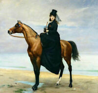 ZOPT990 A lady sitting on a horse painted hand oil painting art on canvas