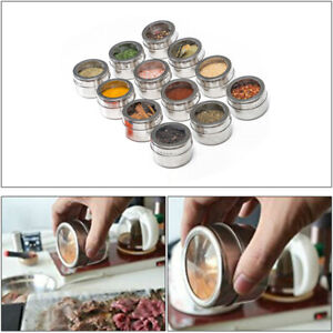 12 Magnetic Spice Jar Sause Container Box Seasoning Storage Tins Stainless Steel