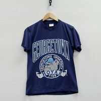 Vintage Georgetown Hoyas T-Shirt Size Small Blue 90s NCAA Single Stitch Made USA