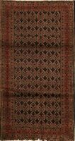 Geometric Brown Balouch Oriental Area Rug Wool Handmade Living Room Carpet 3x4