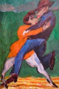 Stanislaw Frenkiel (1918-2001) Expressionist RARE oil painting POLISH portrait