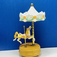 Carousel horse music box figurine statue sculpture vtg decor Willitts Edelweiss