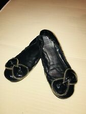 See by Chloe Black Leather Zipper Bow Detail Elastic Ballet Flats Size  9 M