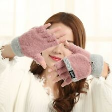 Women Wool Knitted Convertible Fingerless Gloves With Mitten Cover Winter Warm