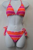 SO Reversible Orange/Pink Stripe/Circles Bikini Top or Bottom Swimwear MSRP $28