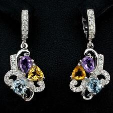 Ohrringe Amethyst Citrin Blautopas Sky Blue & CZ 925 Silber 585 Weißgold