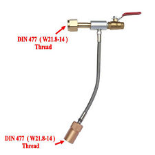 """DIN477 / W21.8-14 CO2 Fill Station with 10"""" High Pressure Hose Single Valve"""