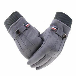 Mens Winter Gloves Suede Warm Sport Outdoor Driving Buckle Split Finger Mittens