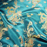 Chinese Dragon Brocade Fabric Silky Material Satin Oriental Embroidered 112cm UK