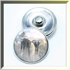 CLEARANCE! ANIMAL ELEPHANTS VS US Snap Button Charm