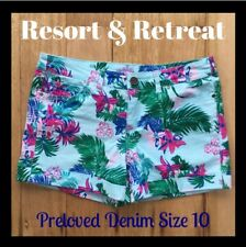 Denim Festival Shorts, Preloved, Size 10, Tropical Print, Great Condition