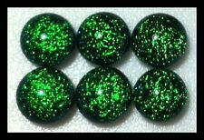 EMERALD GREEN Round SPARKLE Fused Glass DICHROIC Cabochons NO HOLE Beads