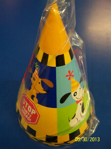 Rescue Pals Dog Construction Worker Striped Kids Birthday Party Favor Cone Hats