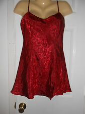 VICTORIA'S SECRET RED ON RED FLORAL PATTERN CHEMISE NIGHTGOWN SZ S EUC