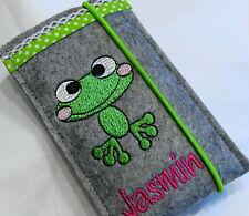 Handytasche/Smartphonetasche Filz Frosch mit Namen *Handarbeit*personalisierbar*