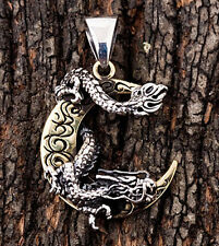Japanese Dragon Moon 925 Sterling Silver Brass Mens Pendant For Chain Necklace