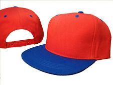 Red Royal Blue Flat Bill Snapback Snap Back Cap Caps Hat Ness Halloween Costume