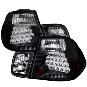 BMW 3-Series 99-01 E46 4dr Black LED Rear Tail Light Set Brake Lamp 4 Door