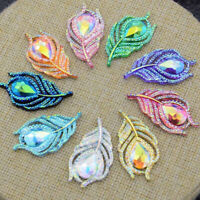 10PCS AB Resin 3D Peacock Feather Flatback Buttons DIY Ornaments Scrapbook Acces