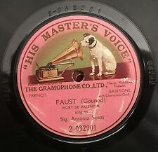 "RARE 78RPM 12"" ONE SIDE ANTONIO SCOTTI FAUST GOUNOD FRENCH GRAMOPHONE HMV"