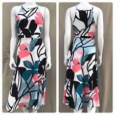 a81cbf7b5397 Ann Taylor Blue Floral Midi Length Classic Fit & Flare Dress W/ Stretch ...