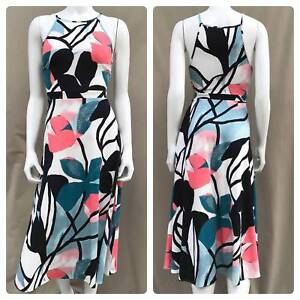 NEW ANN TAYLOR Blue Floral MIDI LENGTH Classic Fit & Flare Dress w/ Stretch S 4
