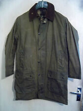 VINTAGE BARBOUR BORDER WAXED HUNTING JACKET SIZE C36 91CM GAME POCKETS