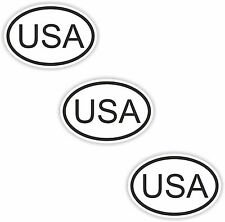 3x Oval Black & White Stickers USA Small Country Code Tablet phone Case