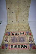 Vintage Peacock Batik Printed Multi-Color Saree 100% Pure Silk Fabric Woven Sari