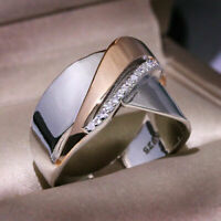 Unique CZ Wedding Jewelry Silver plated Ring Two Tone Geometric Engagement Party